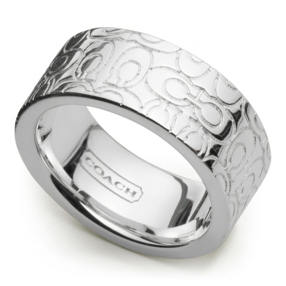 Coach Sterling Signature Band Ring In Silver Silver