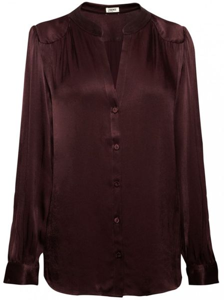 L'agence Lagence Band Collar Blouse Bordeaux in Purple (bordeaux)
