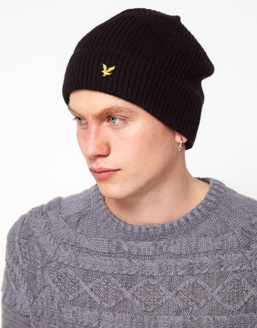 737c68f41 Lyle & Scott Black Beanie Hat for men