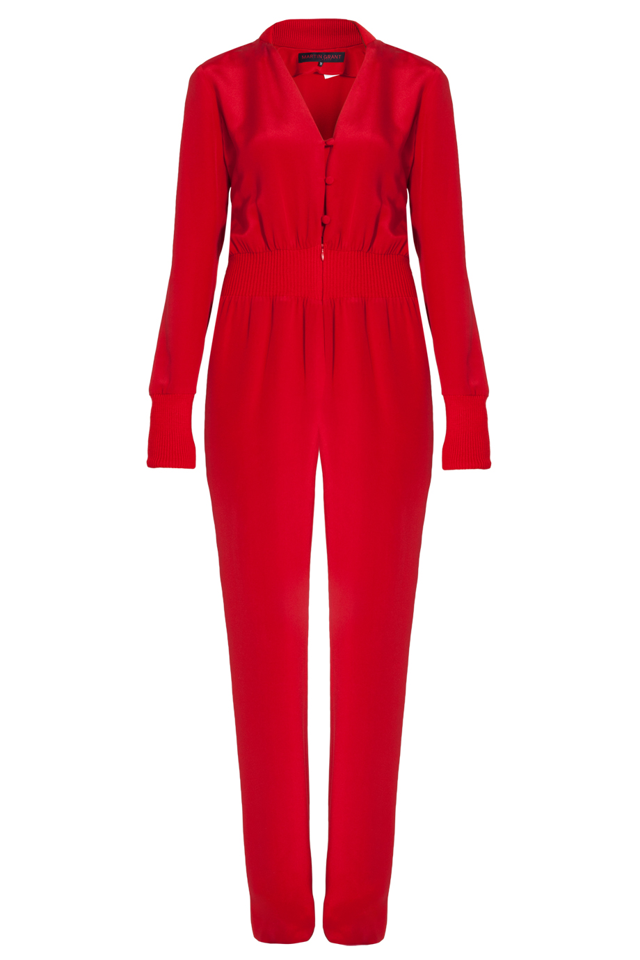 Martin grant Long Sleeve Jumpsuit in Red | Lyst