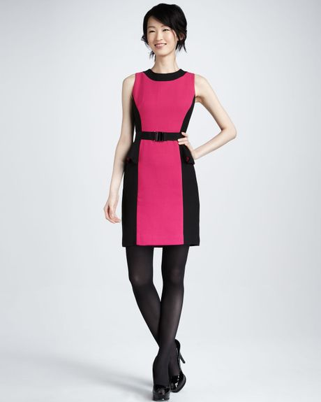 Milly Olivia Belted Dress Fuchsia in Pink (FUCHSIA) - Lyst