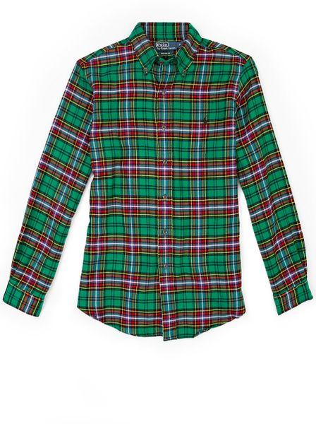 Polo Ralph Lauren Green Plaid Flannel Custom Shirt In