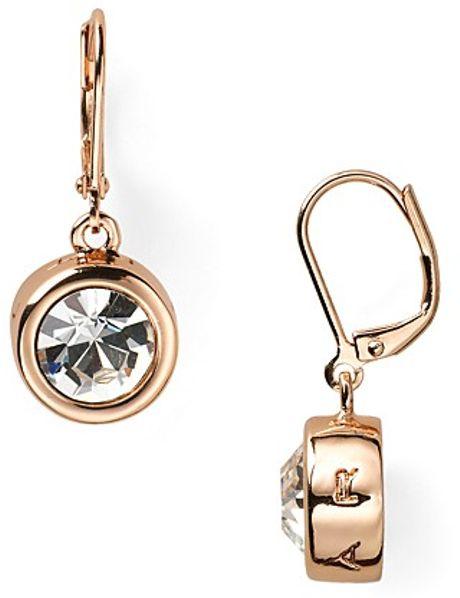 T Tahari Circle Crystal Drop Earrings in Gold (rose gold)