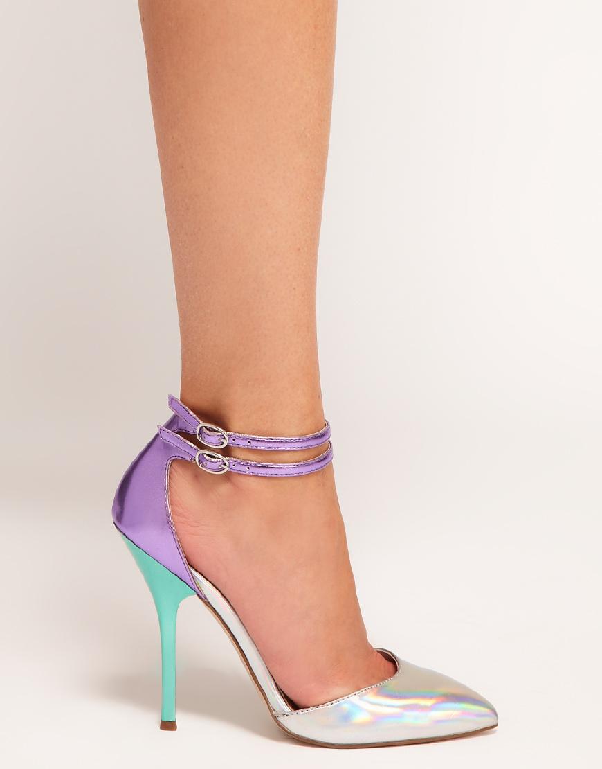 Lyst Asos Asos Prior Metallic Pointed High Heels In Purple