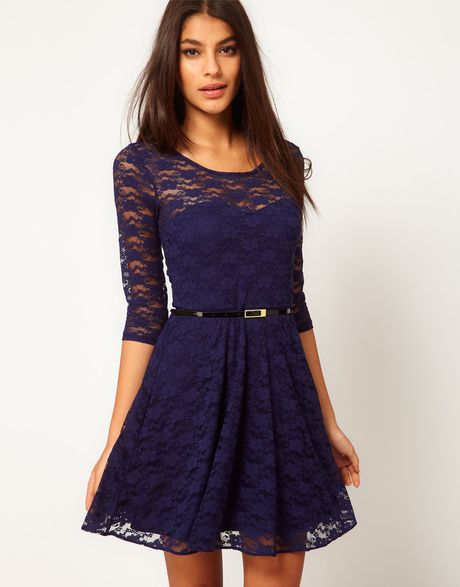 Asos Lace Skater Dress with 34 Sleeves and Belt in Blue (navy