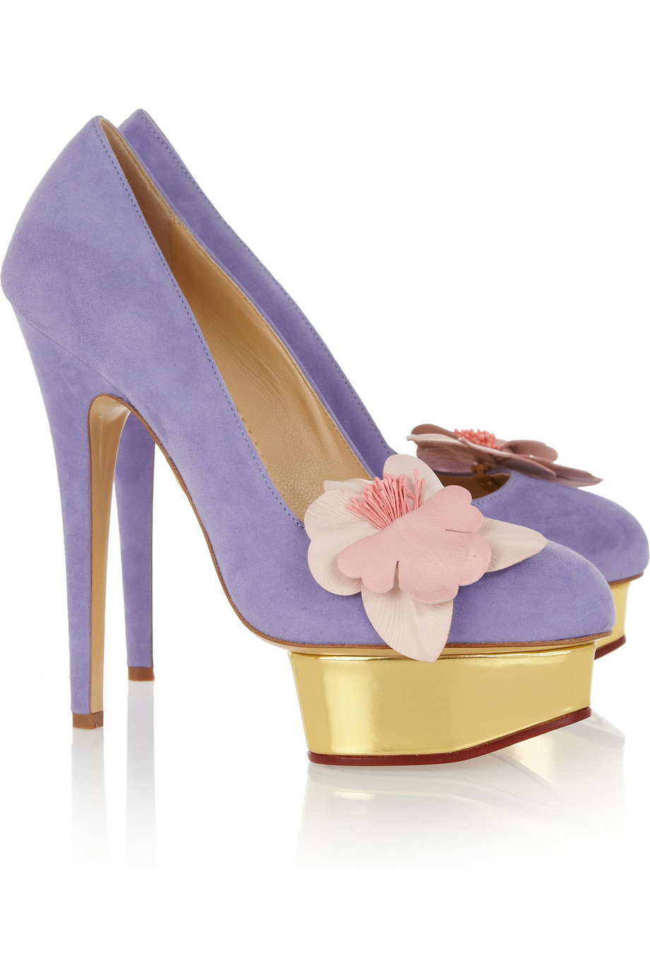 charlotte olympia dolly suede platform pumps in purple gold lyst. Black Bedroom Furniture Sets. Home Design Ideas