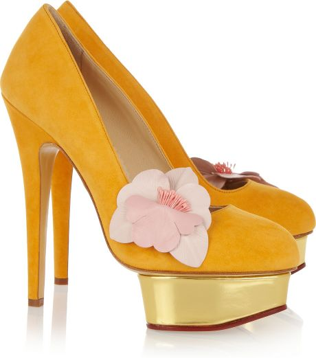 Charlotte Olympia Dolly Suede Platform Pumps in Gold