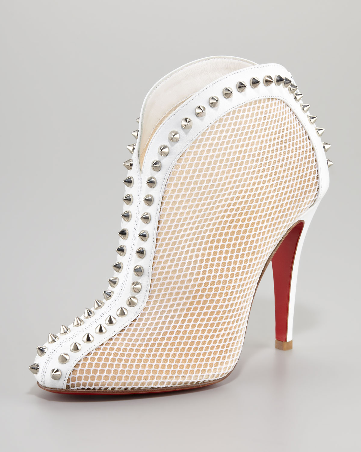check out 0ea1c bd123 Christian Louboutin White Bourriche Studded Ankle Boot