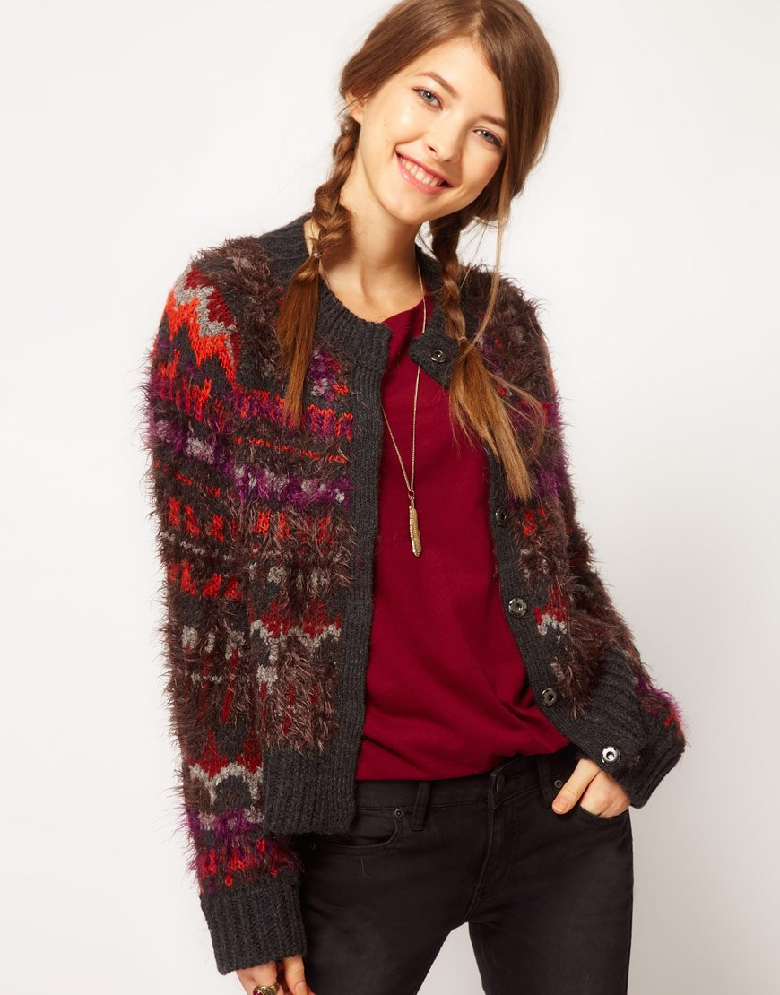 Free people Fluffy Intarsia Cardigan in Brown | Lyst