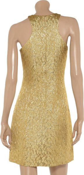 Michael Kors Metallic Brocade Dress In Gold Lyst