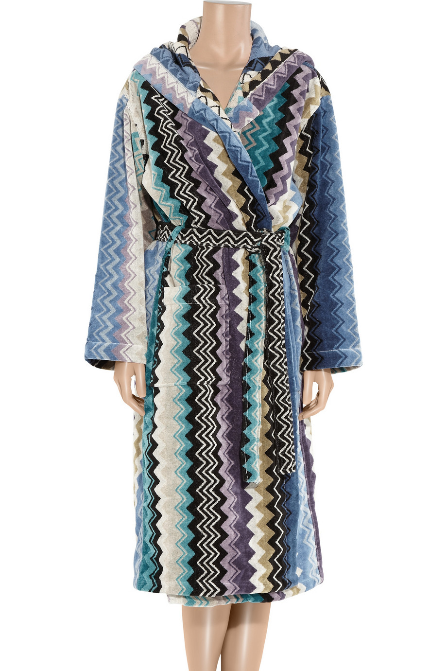 missoni towelling dressing gown in blue  lyst - gallery