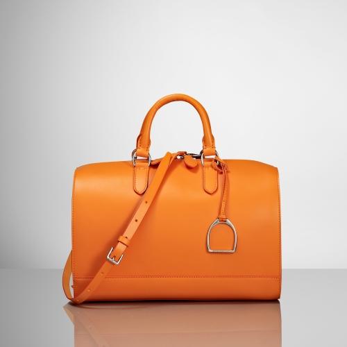 2ab2833bf3 ... official store lyst ralph lauren vachetta stirrup boston bag in orange  cb41b 18275