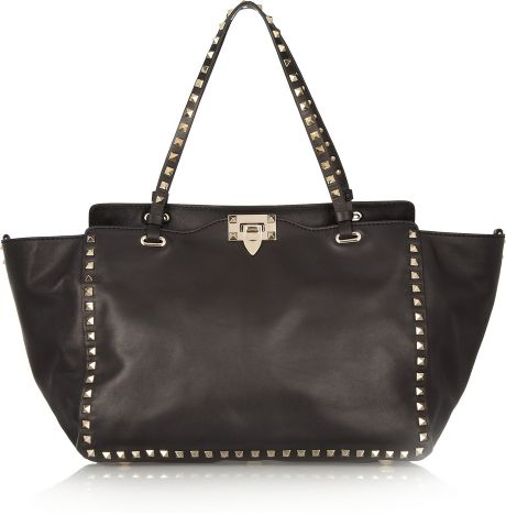 Valentino Rockstud Leather Tote in Black - Lyst