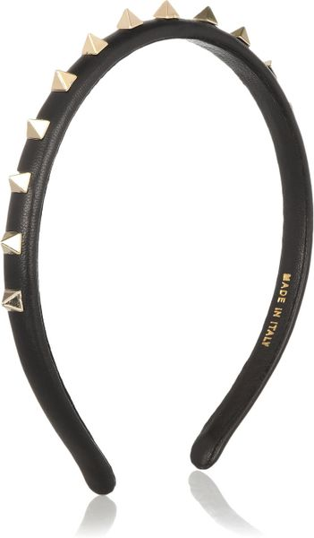Valentino Studded Leather Headband in Black