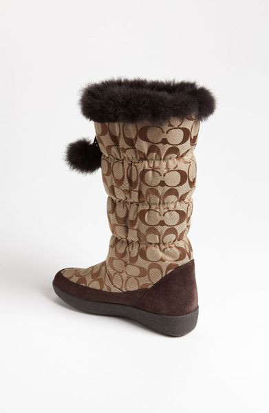 coach theona snow boot in brown khaki chestnut lyst