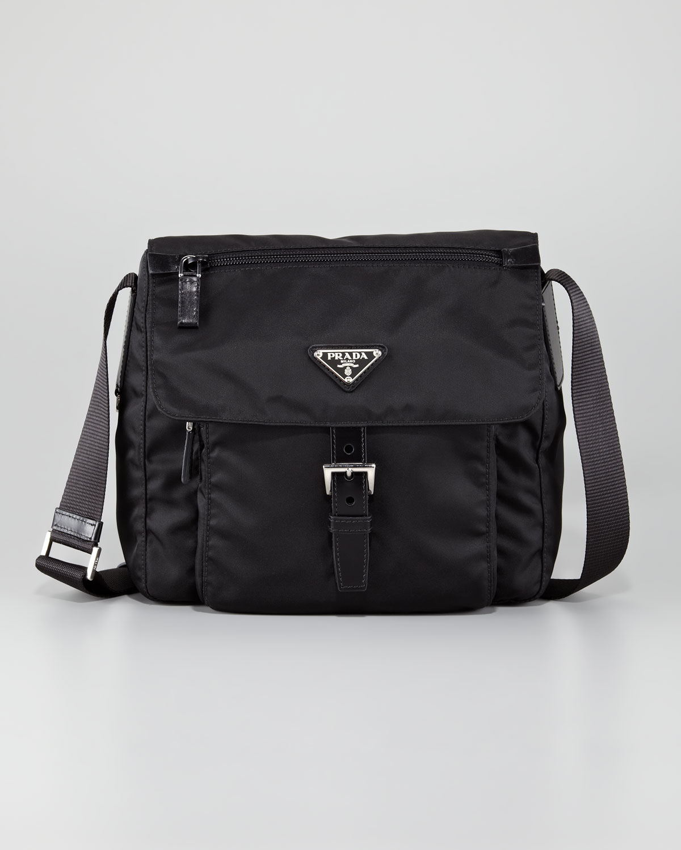 1128657eb1d1 ... low price lyst prada vela flap front messenger bag in black 6986f 7d7a6