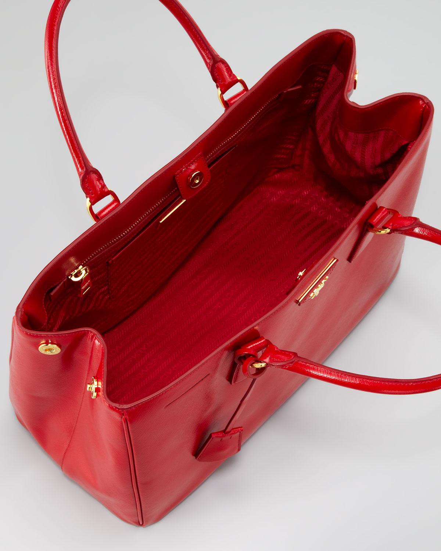 prada clutch wallet - Prada Saffiano Vernice Gardeners Tote Bag Rosso in Red (rosso) | Lyst