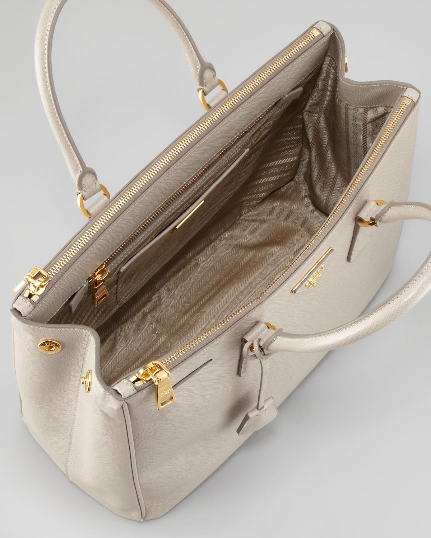 7901dc923e67 ... lux leather executive double zipper tote 9e239 d902f  discount code for prada  saffiano executive tote bag pomice in natural lyst 2c560 5b360