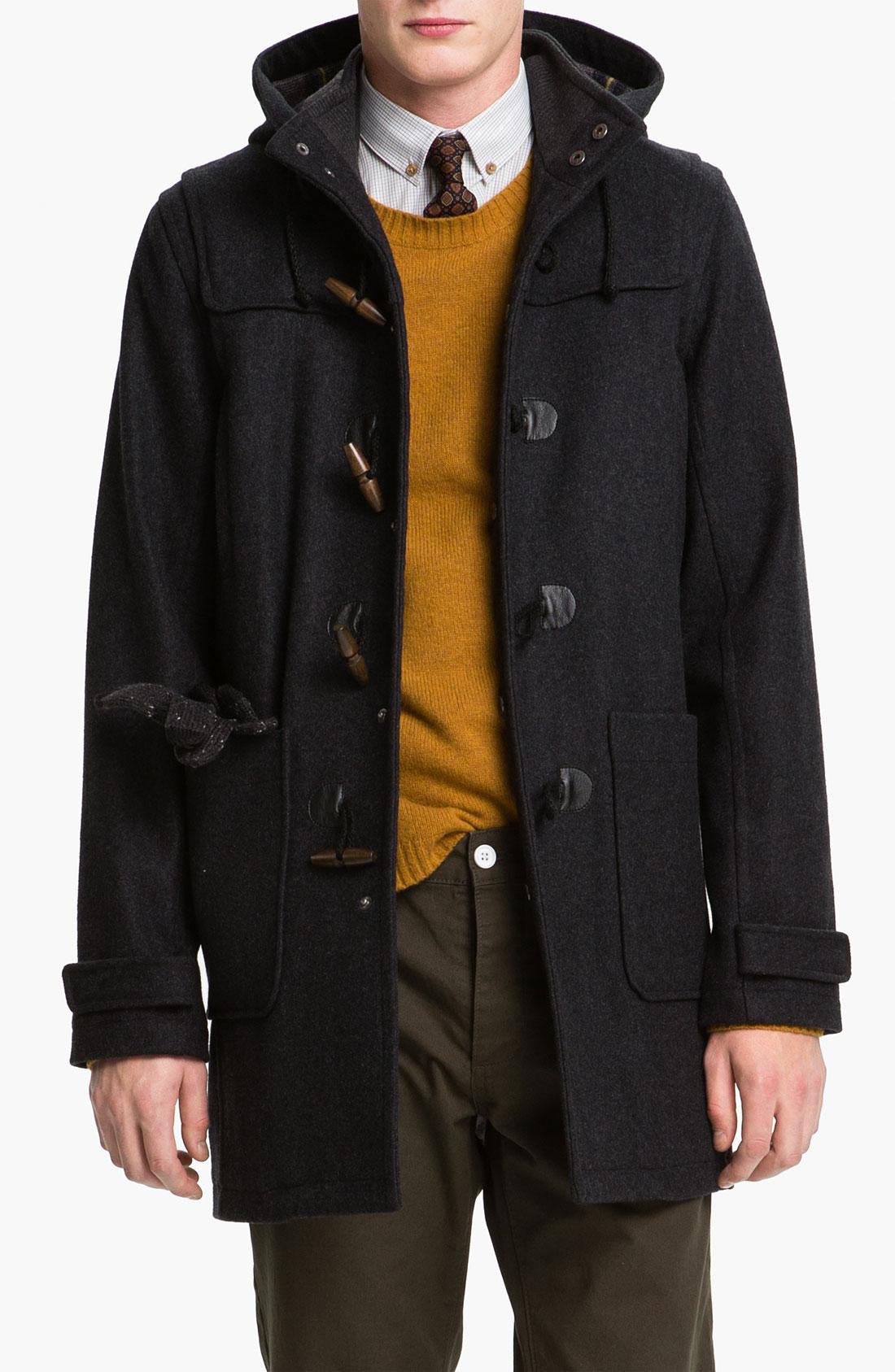 Topman Duffle Coat in Gray for Men | Lyst