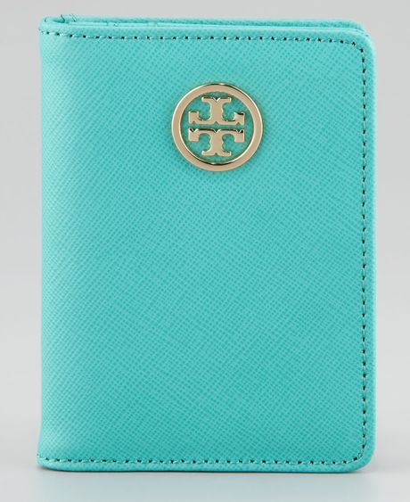 Tory Burch Robinson Passport Holder in Blue (turq/tory ... Designer Passport Holder