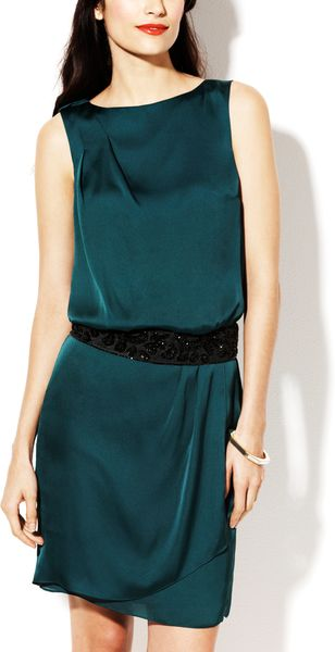 Vince Camuto Pleated Sequin Belted Dress In Green