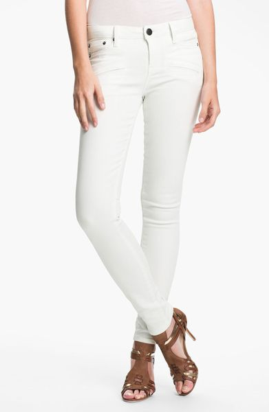 vince coated skinny stretch jeans in white white on white. Black Bedroom Furniture Sets. Home Design Ideas