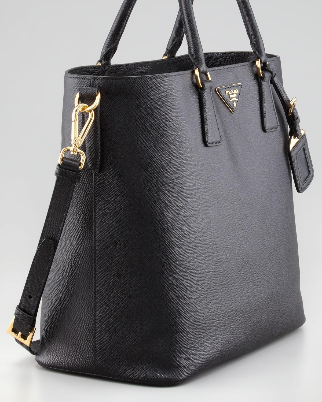 Prada Saffiano Snaptop Tote Bag Nero in Black (nero) | Lyst