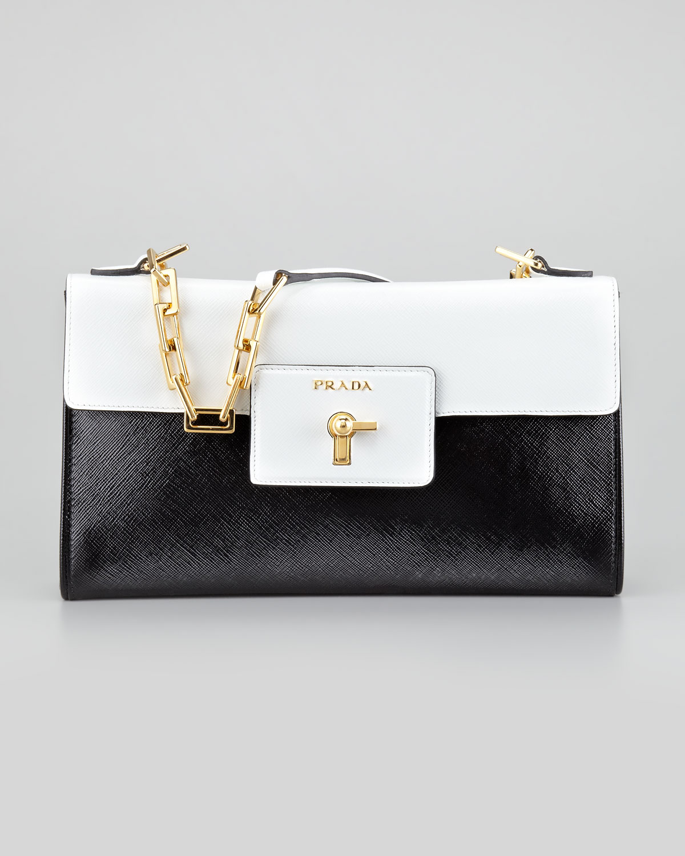 Prada Tessuto Saffiano Bicolor Chain Bag Leather Bags Vernice Shoulder In White Nero Bianco
