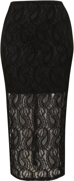 Topshop Black Paisley Lace Tube Skirt in Black - Lyst