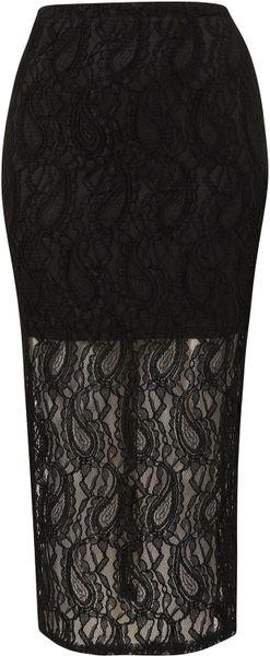 Topshop Black Paisley Lace Tube Skirt in Black