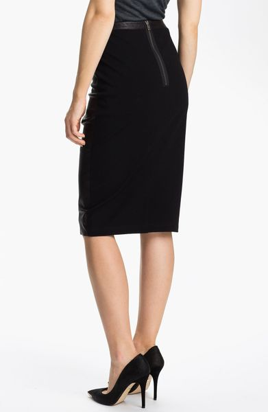 trouv 233 leather panel pencil skirt in black lyst