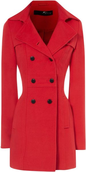 Jane Norman Fitted Flare Coat in Red (cherry)
