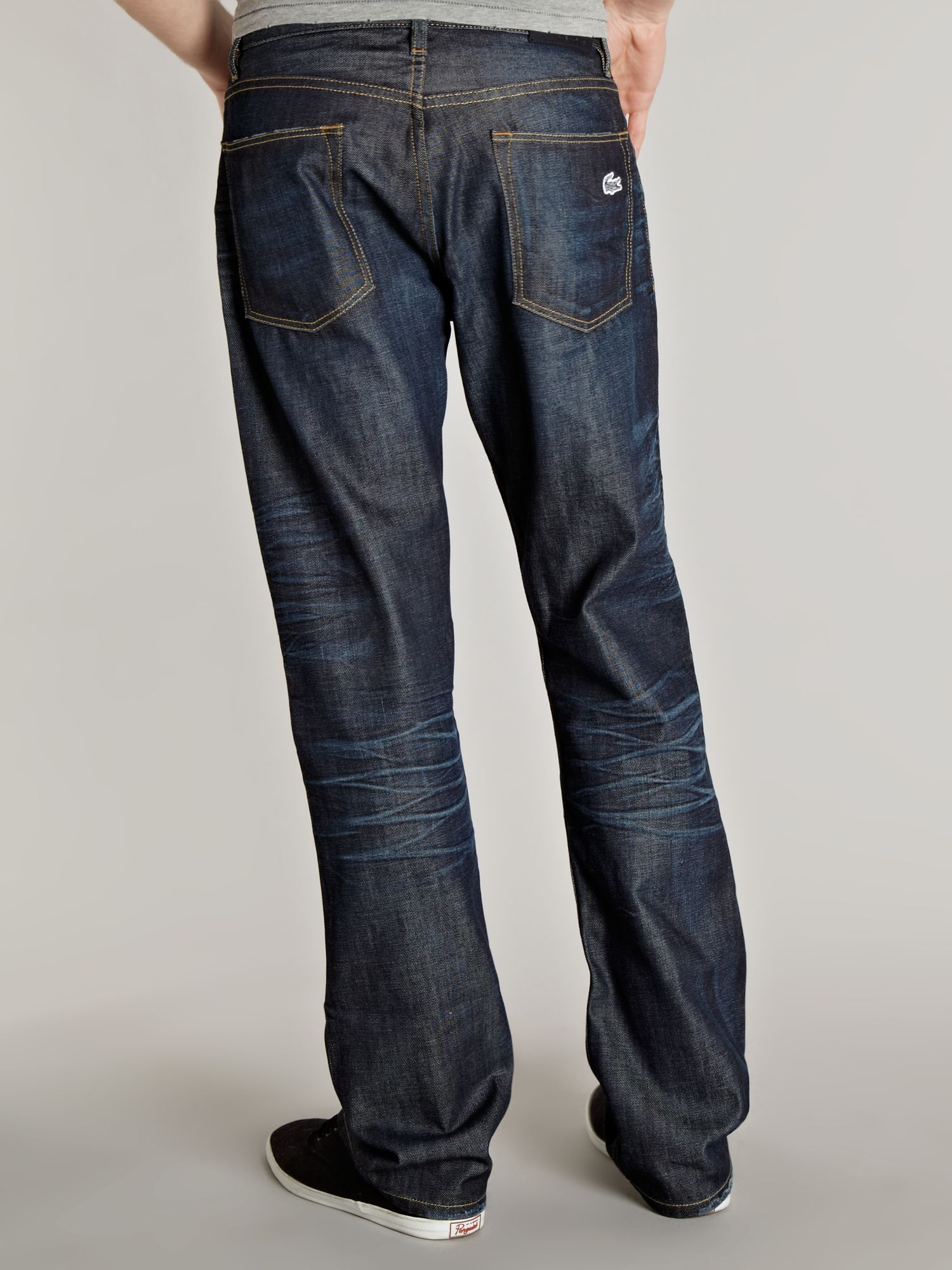 Lacoste Pocket Logo Straight Fitted Jeans In Blue For Men