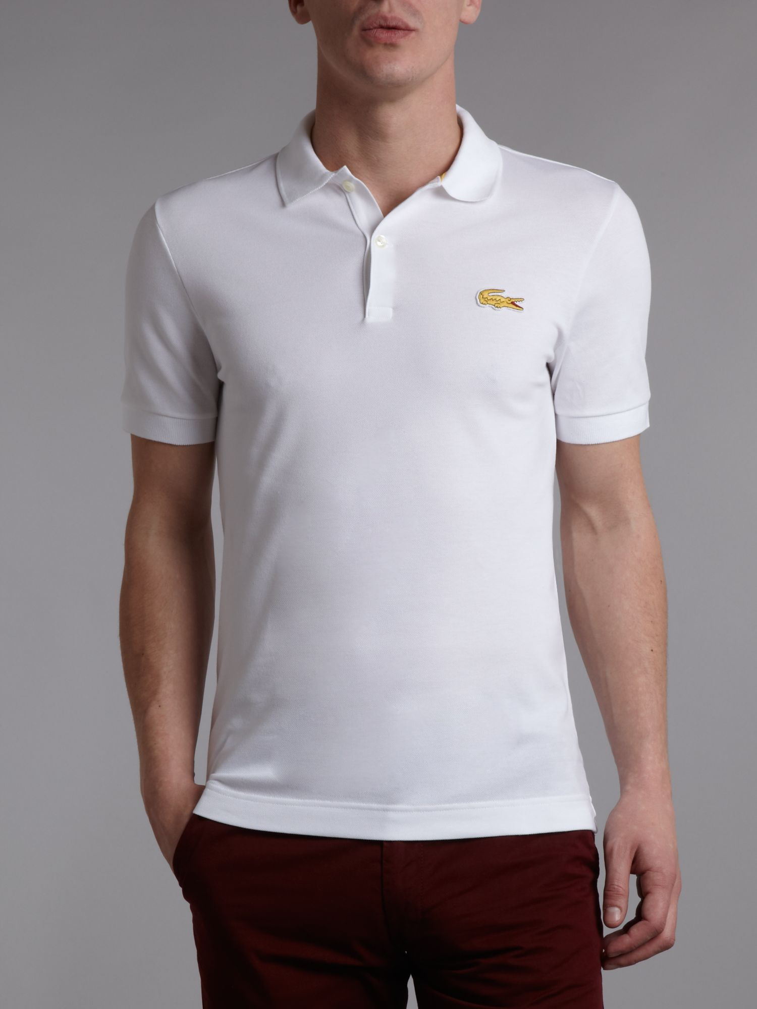 lacoste live slim fitted polo shirt in white for men lyst. Black Bedroom Furniture Sets. Home Design Ideas