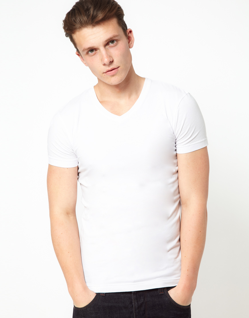 Levi 39 s levis max v neck tshirt in white for men lyst for Levis plain t shirts