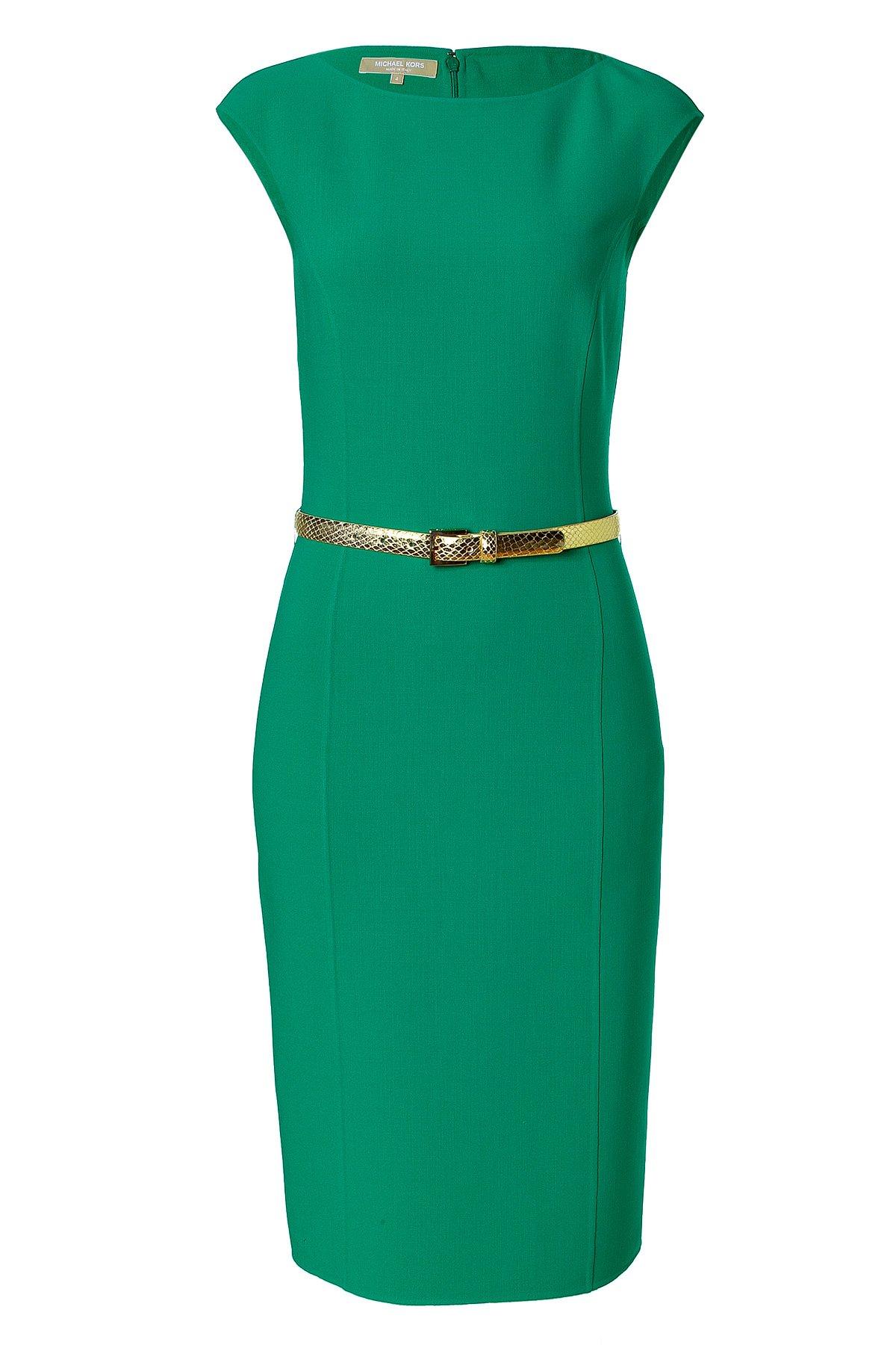Michael Kors Emerald Belted Wool Blend Sheath Dress In