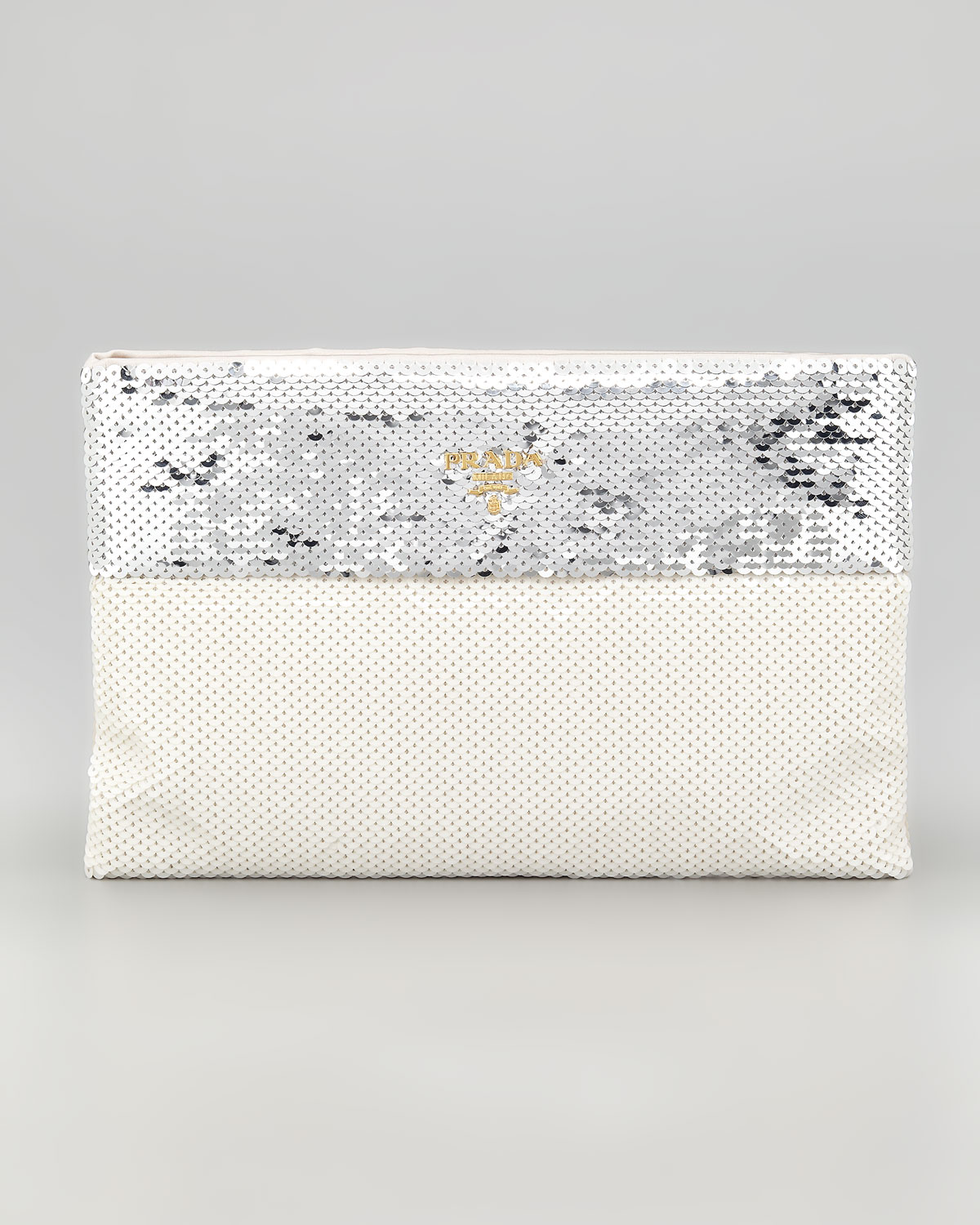 Prada Bicolor Sequined Pouch Clutch Bag in Gray (argento) | Lyst
