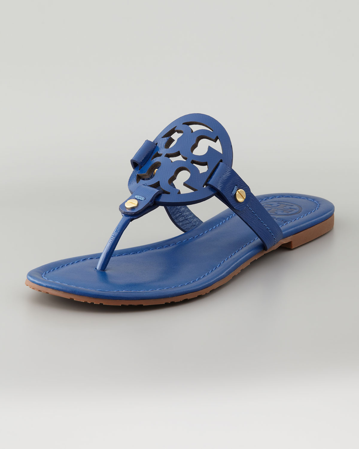 1b9ab3217c5 Lyst - Tory Burch Miller Logo Flat Thong Sandal Indian Ocean in Blue