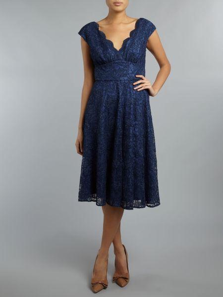 Ariella Lace V Neck Full Skirt Dress In Blue Navy Lyst