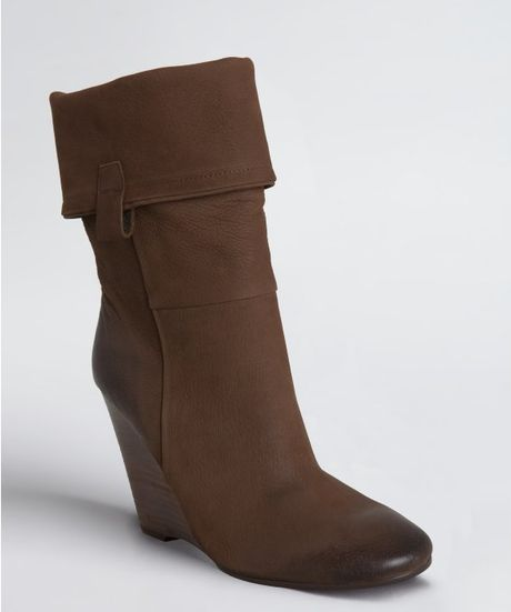 ash camel leather original cuffed wedge boots in brown