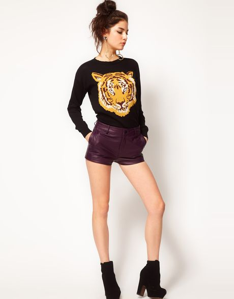 Asos Collection Asos Leather Shorts in Purple