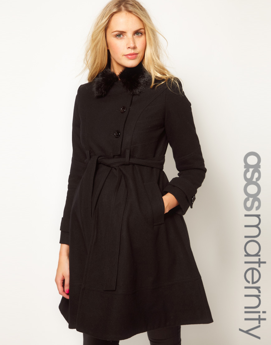 Asos Fit And Flare Coat With Fur Trim In Black Lyst