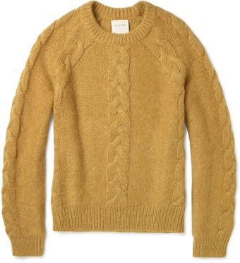 Billy Reid Cable Knit Mohair Blend Sweater - Lyst