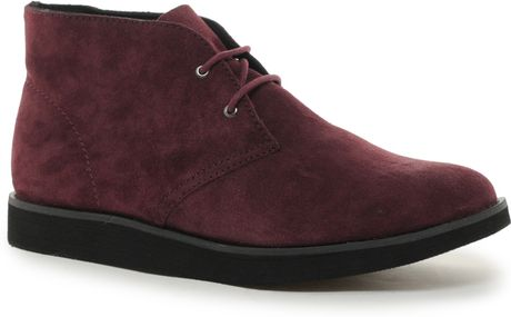 cheap monday alladin suede desert boots in purple for