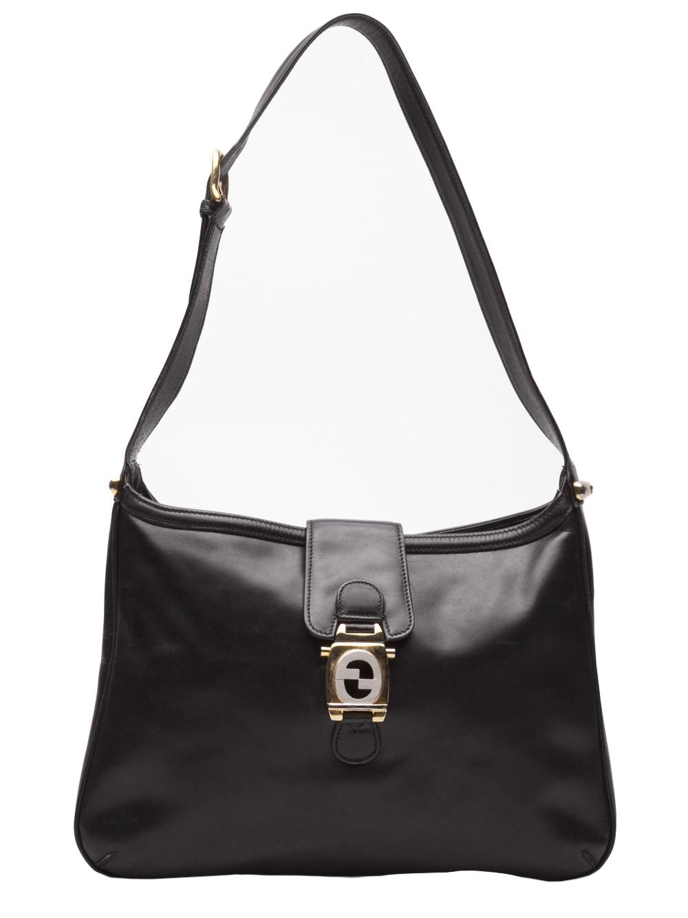 gucci vintage logo medallion handbag in black lyst
