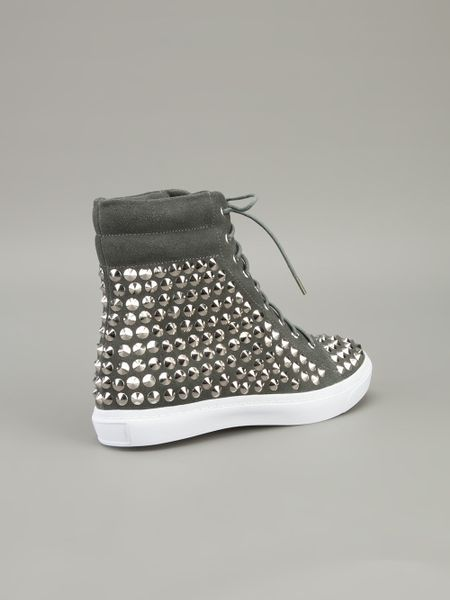 Jeffrey Campbell Alva Hitop Studded Sneaker in Gray (grey) - Lyst