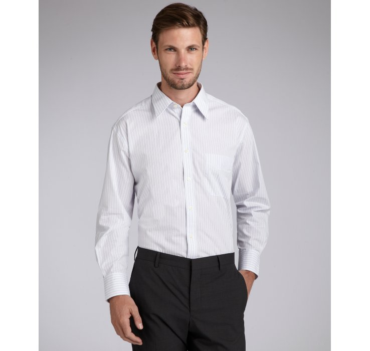 Lyst joseph abboud white striped cotton point collar for Joseph abboud dress shirt
