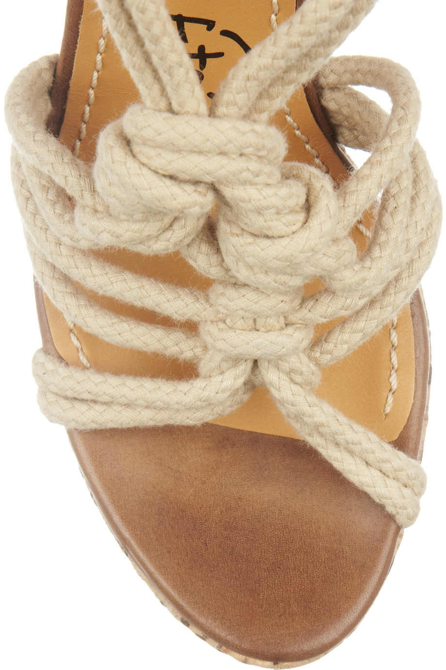 Lanvin Rope And Snake Print Cork Wedge Sandals Lyst