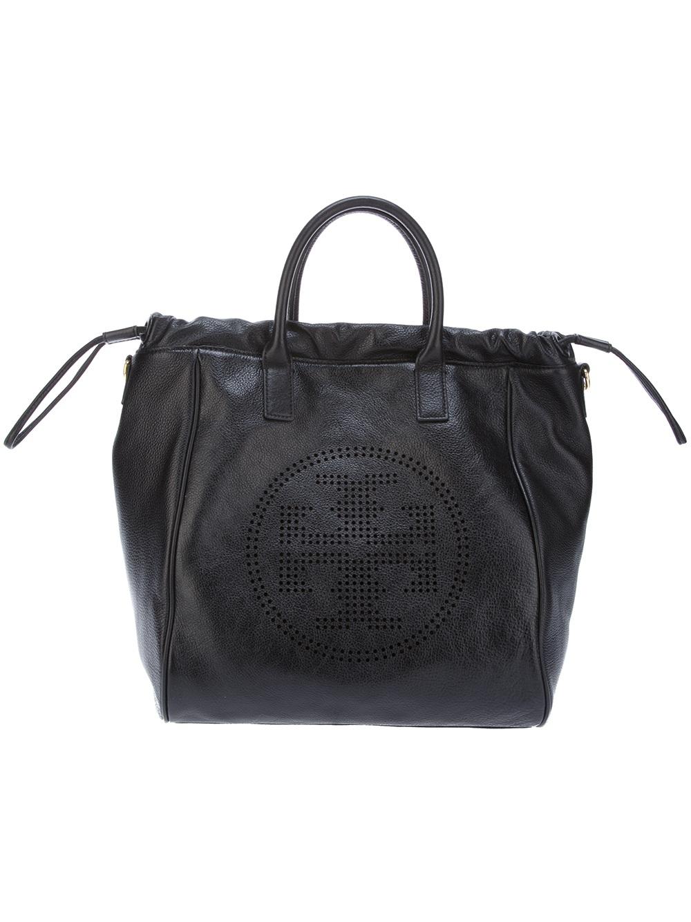 2556f8dc0867 Tory Burch Drawstring Tote Bag in Black - Lyst