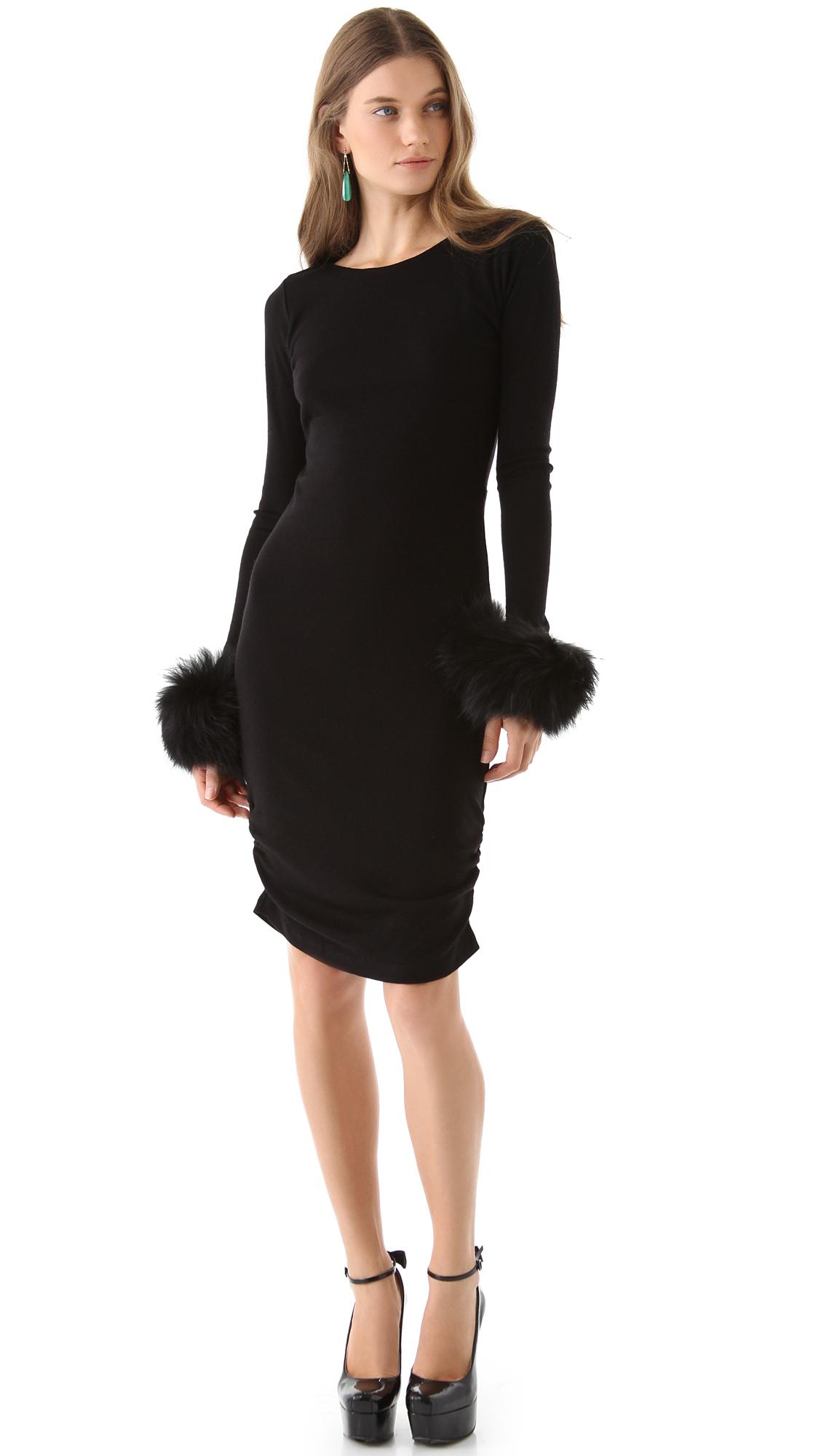 Alice Olivia Dress Alesia Fur Cuff In Black Black Black